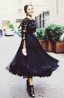 siyah çay uzunluğu gece elbiseleri toptan satış-Katmanlı Siyah Kısa Gelinlik Modelleri 2018 Tasarım Ekip A-line Çay Boyu Dantel Kokteyl Elbiseleri Uzun Kollu Mini Akşam Ünlü Elbiseleri