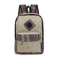 1953de551bcd Vintage School Backpack Women Schoolbags for Teenager Girls Canvas Backpacks  Student Book Bag National mochila bolsas de saco
