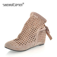 kadınlar için düşük çizme kamaları toptan satış-Shehuimei Büyük Boy 34-43 kadın Yaz Çizmeler Düz Düşük Gizli Takozlar Kesme Kadın Çizmeler Bayanlar Elbise Rahat Ayakkabılar Sevimli Akın