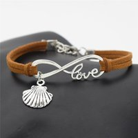 Wholesale wholesale seashells - AFSHOR New Beach Vintage Style Antique Silver Infinity Love Seashell Conch Sea Shell Charms Pendant Leather Bracelets Cute Gift Jewelry