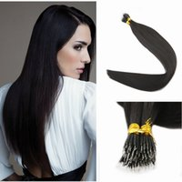 Wholesale micro nano rings - Indian Remy Human Hair Extensions Micro Nano Ring Tip Hair Extensions #1B Natural Off Black 1g Strands 100Strands 100g
