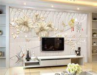 Wholesale Luxury Classic European Living Room - Custom European 3D murals wallpaper flowers beautiful Luxury Desktop Wallpaper For Bedroom wall murals TV backdrop wall