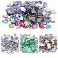 moldar acrílico 3d unha arte venda por atacado-1000 pcs 4x6mm Cristal Acrílico Flatback Forma Oval Facetas da Terra AB Cores Strass Para Nail Art 3D Jóias Pedras Decorativas