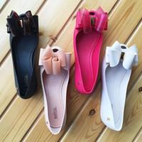 yeni ayakkabılar brazil toptan satış-2018 yeni Brezilya jöle ayakkabı büyük yay düz ayakkabı balık ağzı ayakkabı