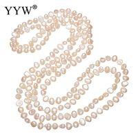 hebras de perlas al por mayor-YYW venden al por mayor a la perla rosada natural con cuentas cadena larga 3-filas de múltiples capas collares suéter de perlas de agua dulce collar de cadena mujer