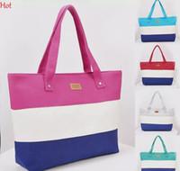 ingrosso stampa su tela-Estate borsa di tela donne borsa da spiaggia moda Hit stampa a colori della signora ragazze borse a tracolla della banda borsa casual bolsa borse per la spesa SV029776