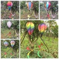 rüzgar balonu toptan satış-Gökkuşağı Şerit Izgara Windsock Sıcak Hava Balon Rüzgar Spinner Bahçe Yard Açık Dekorasyon Asılı Dekorasyon CCA9793 10 adet