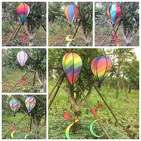 Wholesale outdoor balloons - Rainbow Stripe Grid Windsock Hot Air Balloon Wind Spinner Garden Yard Outdoor Decoration Hanging Decoration CCA9793 10pcs