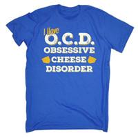 ingrosso t-shirt maniche corte-Funny T Shirt - Obsessive Cheese - Birthday Joke tee Gift Novità tshirt T-SHIRT