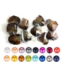 perlas de agua dulce colores al por mayor-2019 DIY 6-8 mm de agua dulce de ostras con perlas Akoya individuales Mezclado 25 colores círculo superior calidad de perlas naturales en paquete de vacío para la joyería del GIF