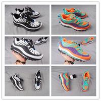 Wholesale mens top designer brands - 2018 Top Quality 98 QS Colourful Running Shoes Mens Trainers OG 98s Gundam Cushion Brand Designer Sneakers Jogging Shoe