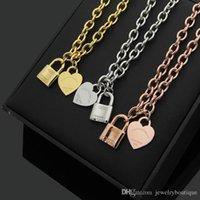 Wholesale lock chains necklaces resale online - Nlm99 Hot sale Stainless steel lock shape and heart pendant necklace in cm length women jewelry gifts PS5016