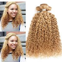 renk 27 kıvırcık toptan satış-Yeni Gelmesi 27 Renk Bal Sarışın İnsan Saç Örgüleri Kinky Kıvırcık Saç Uzantıları 3 Bundle Fırsatları Çilek Sarışın Demetleri