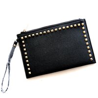 Wholesale Hot Pink Clutch - 2018 Hot Sale High Quality Fashion Pu Leather Women Clutch Bags Handbags Purse Rivet Designer Free Shipping Wholesale