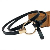 versátiles correas de vestir al por mayor-Cinturón fino y versátil para mujer vestido anudado cinturón pequeño hebilla redonda Mujeres Correa jeans accesorios