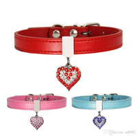 Wholesale personalized leather dog collars leashes resale online - Lovely Dog Collars Diamonds Heart Peach Collar Traction Rope Leashes Pet Articles Supplies Ornaments Party Favor lx bb