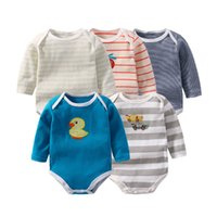 ingrosso vestito da bambino-Body neonato manica lunga per bebè, body per bebè, body in cotone biologico, confezione da 5 pezzi