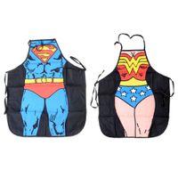 Wholesale superheroes woman costume online - Women Men Waterproof Kitchen Bib Aprons Comic Superhero Costume Apron Funny Gift