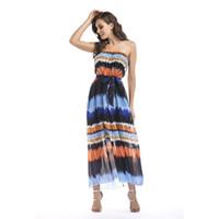Wholesale Plus Size Yellow Midi Dress - Spring Summer New Dresses Ribbon Dress Sandy Beaches Slash Neck Empire Women Casual Dresses Plus Size S- 6XL