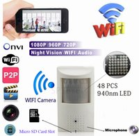 Wholesale micro wired camera audio for sale - WIFI Micro SD Card Slot P PIR Style Onvif Wired And Wireless IP Camera With Invisible nm IR LED Built in Audio