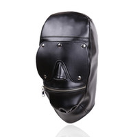 ingrosso muso della maschera di schiavitù-Nuovo design Bondage Gear Hood Muzzle Harness con Eye Pad rimovibile Maschera in pelle nera con cerniera in bocca Fetish Sex Toy Gimp B0306037