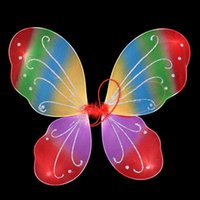 Wholesale Fancy Fabrics - New Rainbow Color Kids Girl Butterfly Wing Wand Headband Fairy Fancy Party Children's Day Costume Show Accessory Angel Wings