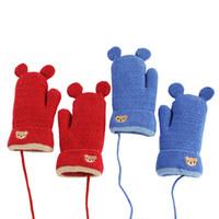 перчатки для младенцев оптовых-Детские перчатки осень и зима девушка теплый плюс бархат мультфильм медведь мешок палец набор мальчик Baby Finger талреп перчатки