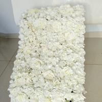 ingrosso fiori di piombo stradali-1pcs fiore artificiale parete matrimonio sfondo decorazione prato pilastro strada piombo fiore arco di seta rosa ortensia fiore bianco