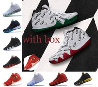 Wholesale Basketball Basket Size - With original box new Kyrie Irving 4 Basketball Shoes for High Quality 4s BHM Boston Green White trainers Sports Sneakers Size 40-46