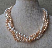 ingrosso perle originali per il matrimonio-Perle di perle da sposa perfette, collana di perle d'acqua dolce genuina di colore rosa 18inch bianco 18inch 4 pollici 6-9mm, nuovo trasporto libero