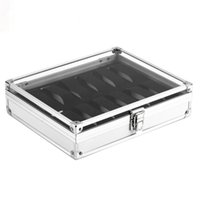 Wholesale Inside Dress - OUTAD Professional 12 Grids Watch Box Jewelry Display Storage Square Case Aluminium Suede Inside Container Watch Case
