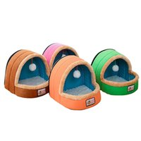 Wholesale blue dog kennels - Removable Mat Pet Dog Cat Bed Warm Soft Kennel Small Dog Cat Bed Cushion Pet Blanket Puppy Cat House Bed Hanging Toy Balls