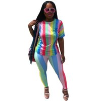 Wholesale striped yoga pants for sale - 2 Two Piece Set Women Summer Autumn Striped Sexy Club Short Sleeve Tops And Pants Suits Casual Sweatsuit Tracksuit