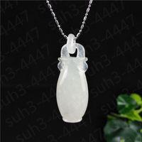 jóias de jade jadeite naturais venda por atacado-Certificado Natural Jadeite Branco Jade Vaso Colar Pingente Charme Jóias Amuleto