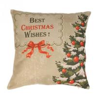 árvore de natal decoração azul venda por atacado-Venda quente Festivais Decoração de Linho Natal Fronha de Natal Santa Árvore Travesseiro Capa Almofada