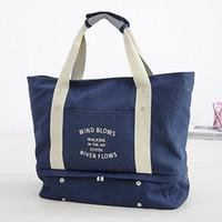 сумки для путешествий оптовых-Вещевые мешки холст спортивные вещевые с обуви отсек путешествия сумки вещевой мешок тренажерный зал сумки открытый выходные мешок багажа вещевой рюкзак Спорт