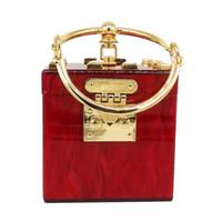 Wholesale Clutch Metal Frames - P 2018 Square Acrylic Clutch Evening Bag Luxury wommen crossbody bags Metal Party Bag Ladies Handbag Diamond Purse