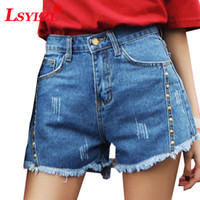 Wholesale double breasted high waist shorts - Solid Slim Double-breasted Women Denim Shorts New High Waist Short Feminino Plus Size S-XXl Casual Female Jeans Shorts B263