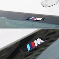 accesorios m6 al por mayor-2x Car styling M M3 M5 Logotipo Etiqueta engomada del coche Emblema de aluminio Placa insignia para BMW E34 E36 E39 E53 E60 E90 F10 F30 M3 M5 M6 accesorios