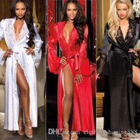 Wholesale transparent women s sleepwear - Women Sexy Lingerie Sleepwear Lace Long Bath Robes Nightgown Sleepwear Nightwear Long Sleeve Belt Transparent Robe Hot Wholasale