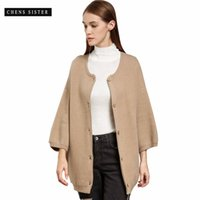 ingrosso cardigan anteriore bottone-[CHENS SISTER] 2018 A / I Cardigan donna Cappotto Solid Button Front Knitwears manica lunga Casual Cardigan maglione Donna
