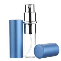 kleine aluminium-sprühflaschen großhandel-6 ml nachfüllbare parfümflasche mode elegante aluminium metall sprühflasche kleine kosmetische reise mini spray abnehmbare flasche 9 farbe a106