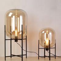 ombre au sol achat en gros de-lampe en verre fumée lampadaire loft réplique design moderne vitrail sculpture éclairage cognac ombre debout lumière