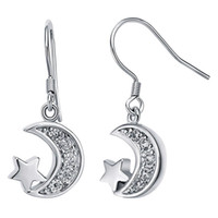 Wholesale Singapore Star - Star and Moon Necklace and Earrings Set Women Jewelry Silver-tone Crystal - With Gift Box