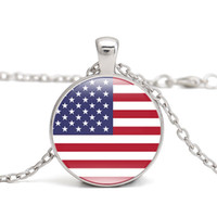 fb8feefcfd30 Wholesale usa flag glasses for sale - USA Flag Pendant Necklace North  America Country National Flags