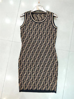 Wholesale Woman Knitted Skirt Both F Letter Sleeveless Dress Vest Temperament Long All match New Pattern