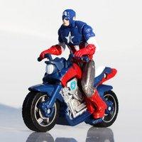 pasta filmi toptan satış-Perakende 10 CM Marvel Film Heykelcik Kaptan Amerikan 3 Motosiklet Aksiyon Figürleri Süper Kahraman Kek Topper süslemeleri Serin Boy Doll Oyuncak Hediyeler T6