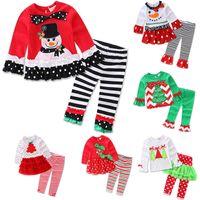 xmas ağacı elbisesi toptan satış-Noel Çocuk Baskılı Noel Baba Ren Geyiği Xmas Ağacı Için Pijama Kıyafetler Kız Uzun Kollu Fırfır Pijama Set Giyinmek Giysi WX9-1008