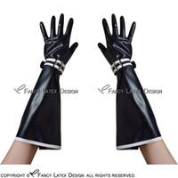 ingrosso guanti in lattice nero-Guanti in lattice nero con bianco assetta sexy corta con cinghie e gomma Zipper Mittens ST-0032