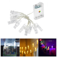 ingrosso decorazione interna di halloween-1M 10LED Scheda Foto Foto Clips Pioli Bright String Light Lamp Indoor Home Party Festival Decor